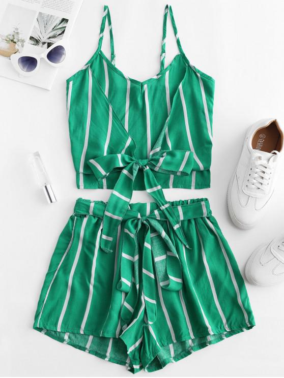 online Striped Knotted Smocked Two Piece Shorts Set - MACAW BLUE GREEN L