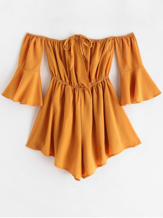 buy Tied Collar Flare Sleeve Off Shoulder Romper - YELLOW S