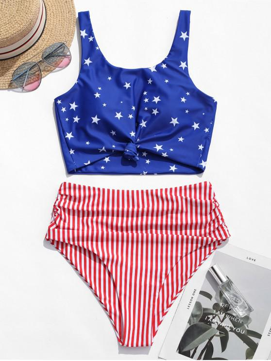 hot ZAFUL Knot Ruched American Flag Tankini Swimsuit - MULTI-A L