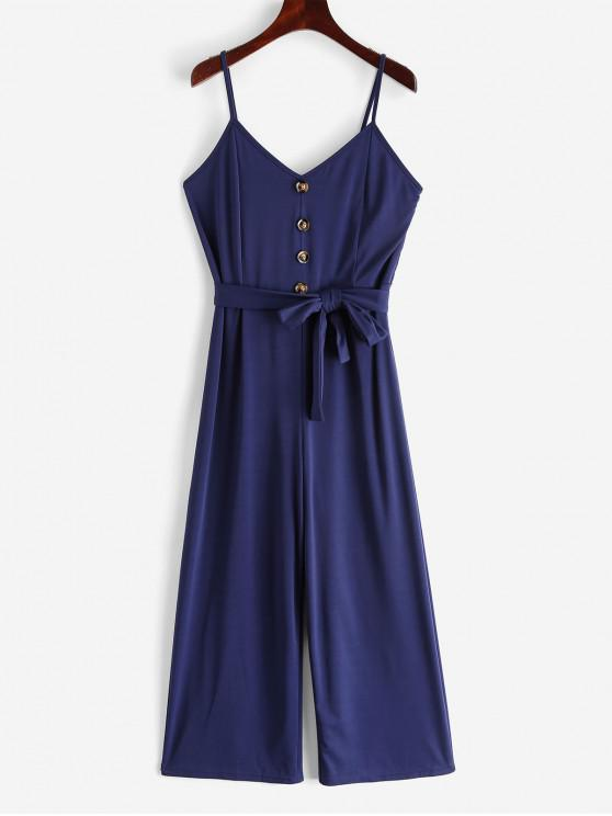 outfits Buttons Belted Wide Leg Cami Jumpsuit - DEEP BLUE L