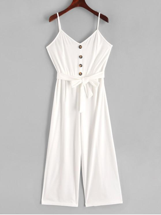 fancy Buttons Belted Wide Leg Cami Jumpsuit - WHITE M