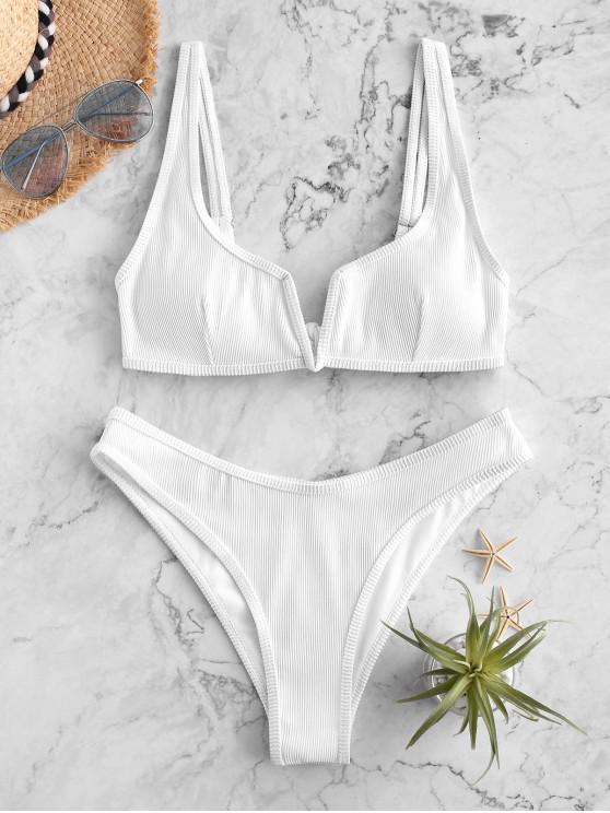 chic ZAFUL Piping V-wired Ribbed Bikini Swimsuit - WHITE S