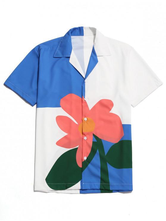 hot Color Block Flower Print Button Shirt - MULTI XL
