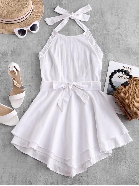 affordable Ruffles Halter Belted Overlay Dress - WHITE M