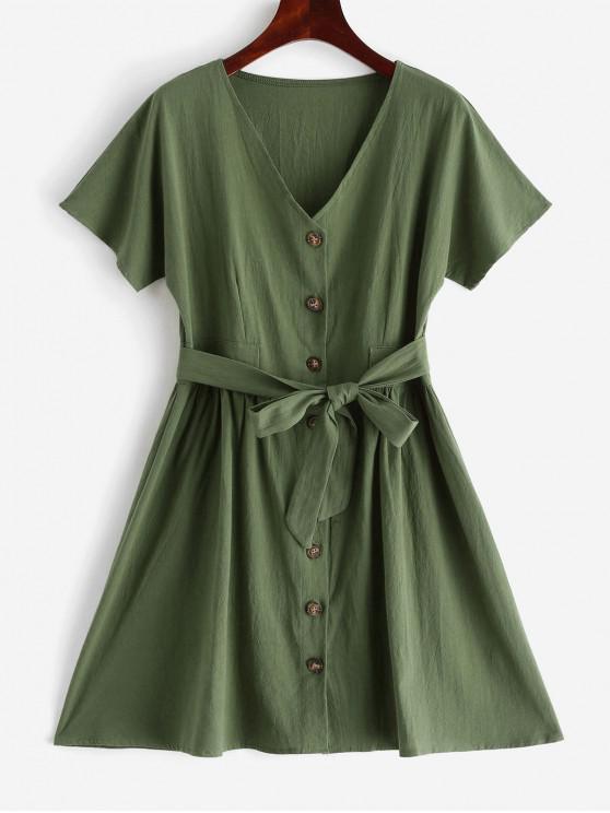 trendy V Neck Buttoned Belted Solid Dress - FERN GREEN XL