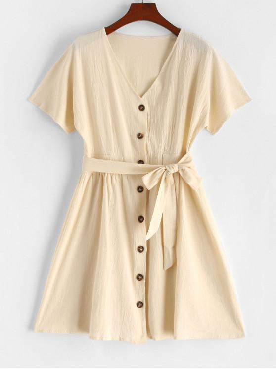 women's V Neck Buttoned Belted Solid Dress - BLANCHED ALMOND L