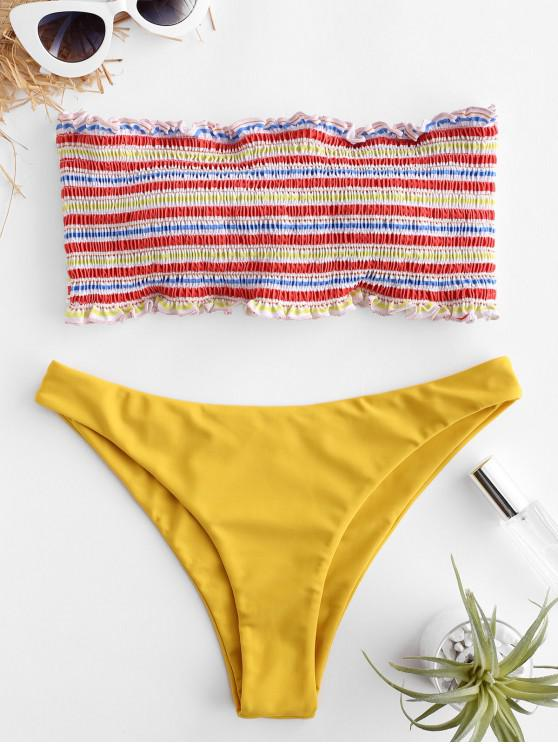 ZAFUL Streifen Gesmoktes Rüschen Bandeau Bikini Set - Multi-A M