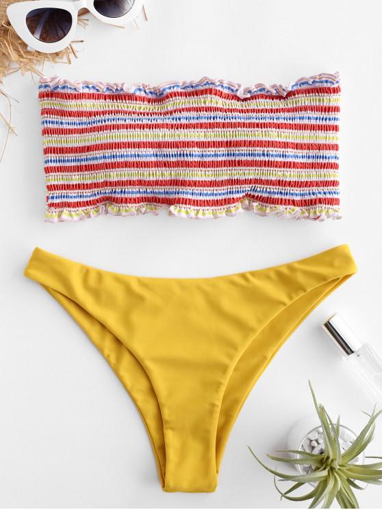 outfits ZAFUL Striped Smocked Ruffle Bandeau Bikini Set - MULTI-A L