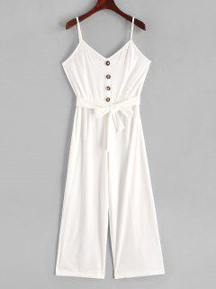 Buttons Belted Wide Leg Cami Jumpsuit - White Xl