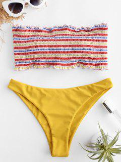 ZAFUL Striped Smocked Ruffle Bandeau Bikini Set - Multi-a S