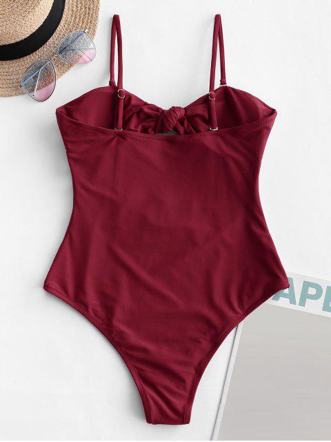 buy ZAFUL Tie Cutout Bandeau One-piece Swimsuit - FIREBRICK S Mobile