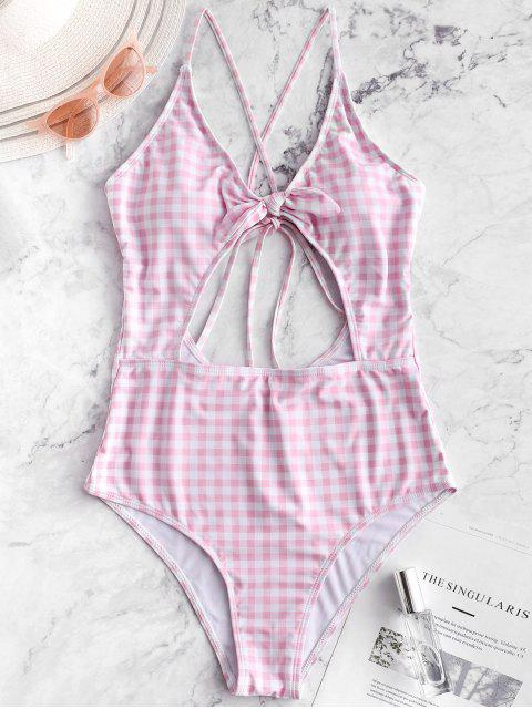 ladies ZAFUL Plaid Criss Cross Tied Monokini Swimsuit - PIG PINK S Mobile