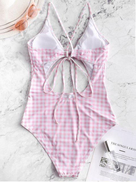 ZAFUL Plaid Criss Cross Tied Monokini traje de baño - Cerdo Rosa L Mobile