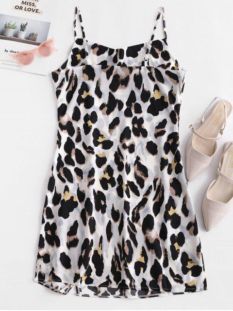 Estampado de leopardo raja un vestido de línea de cami - Multicolor-A S Mobile