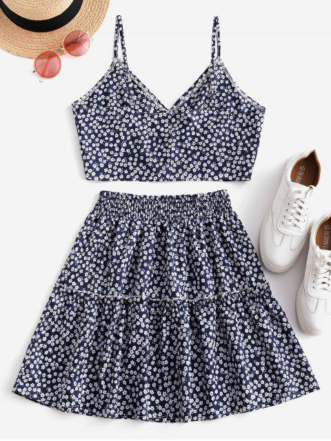 shops Floral Print Buttoned A Line Skirt Set - DEEP BLUE S Mobile