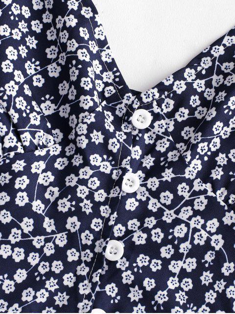Traje de Falda en a Abotonada Floral - Azul Profundo M Mobile