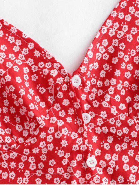 unique Floral Print Buttoned A Line Skirt Set - RED M Mobile