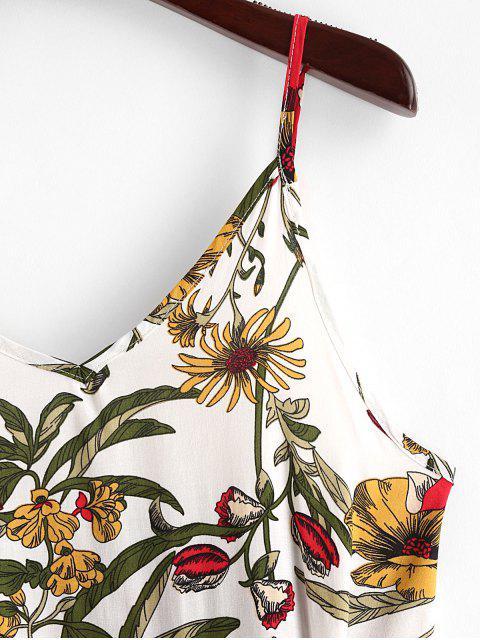 Mini Robe Fleurie Imprimée à Volants à Bretelle - Blanc M Mobile