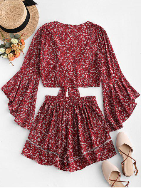 women's Flare Sleeve Knotted Floral Blouse and Flounce Shorts Set - RED WINE L Mobile