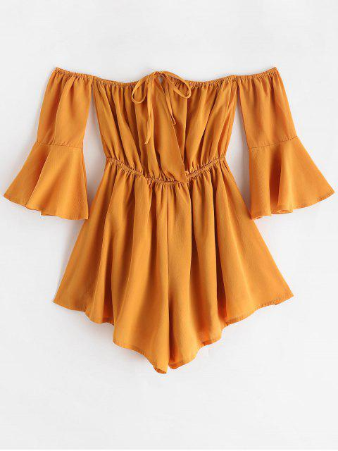 online Tied Collar Flare Sleeve Off Shoulder Romper - YELLOW M Mobile