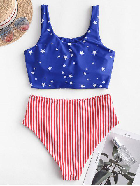hot ZAFUL Knot Ruched American Flag Tankini Swimsuit - MULTI-A L Mobile