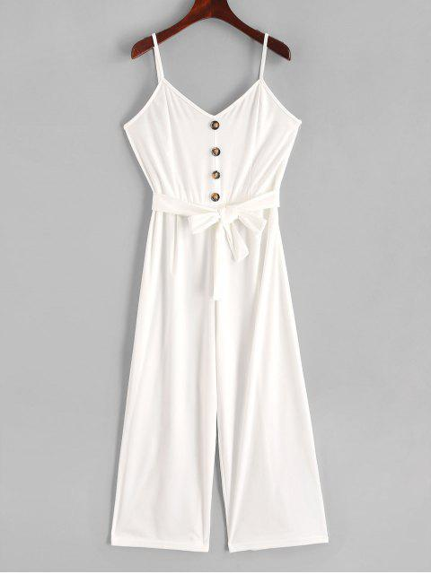 online Buttons Belted Wide Leg Cami Jumpsuit - WHITE XL Mobile