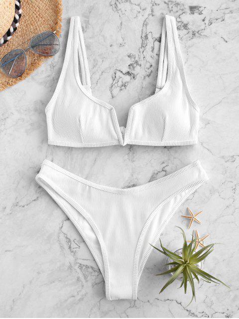 ZAFUL Maillot de Bain Bikini Côtelé à Armature en V - Blanc M Mobile