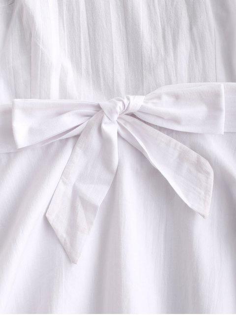 affordable Ruffles Halter Belted Overlay Dress - WHITE M Mobile