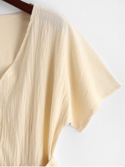 shops V Neck Buttoned Belted Solid Dress - BLANCHED ALMOND S Mobile