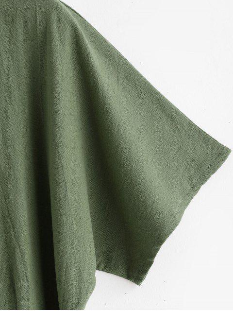 Robe Ceinturée Boutonnée en Couleur Unie à Col V - Vert Fougère L Mobile