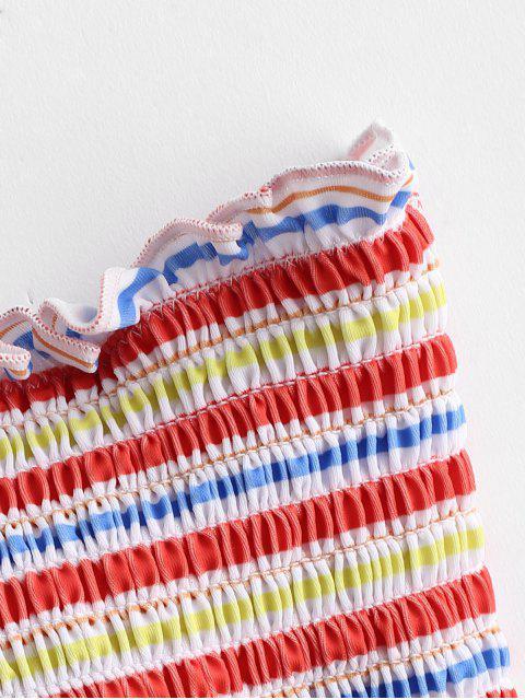 Bikini de Bandeau con Volantes a Rayas ZAFUL - Multicolor-A M Mobile