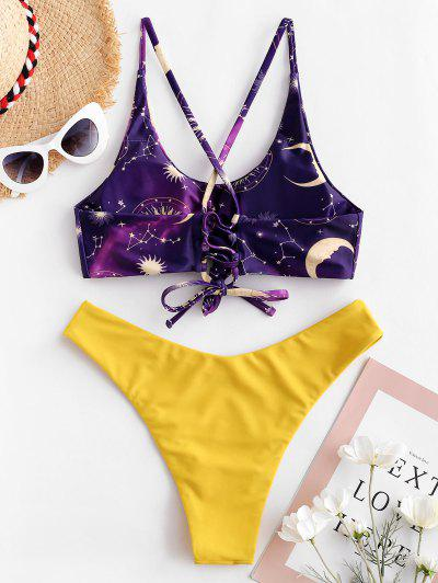 ac06684df66 ... ZAFUL Knotted Lace Up Sun Moon Constellation Bikini Swimsuit - Multi-a S