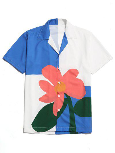 Color Block Flower Print Button Shirt - Multi L ...