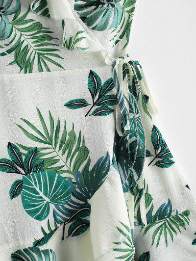 ZAFUL Leaf Print V Neck Ruffle Wrap Dress, Multi