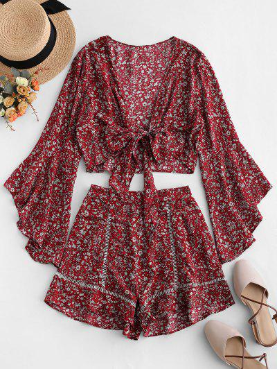 Flare Sleeve Knotted Floral Blouse And Flounce Shorts Set - Red Wine L