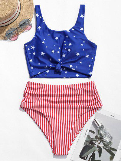 ZAFUL Knot Ruched American Flag Tankini Swimsuit