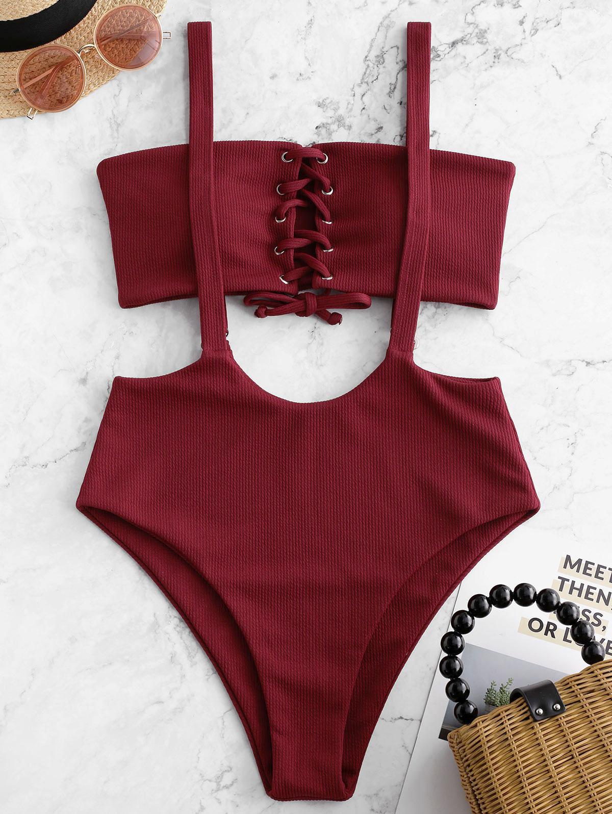 ZAFUL Pizzo Costine con Fascia Bretelle Bikini Costume da bagno