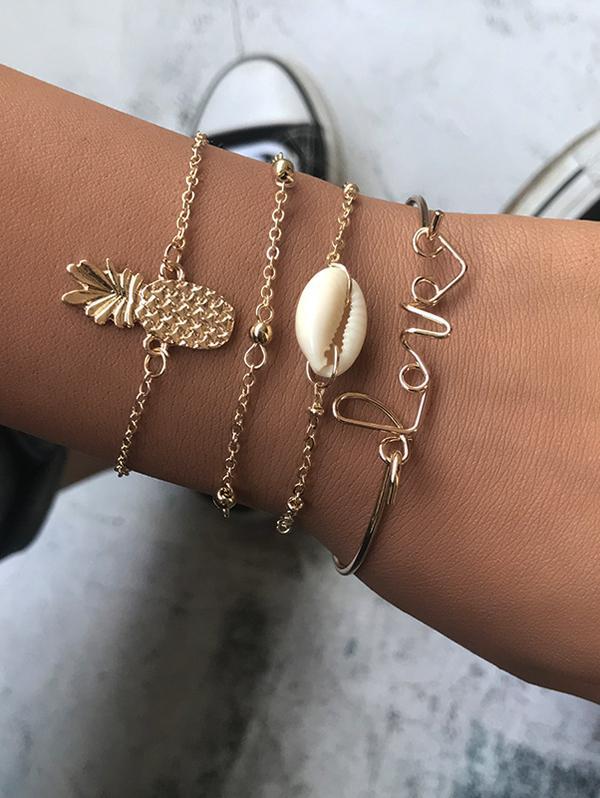 4Pcs Love Pineapple Shell Bracelet Set