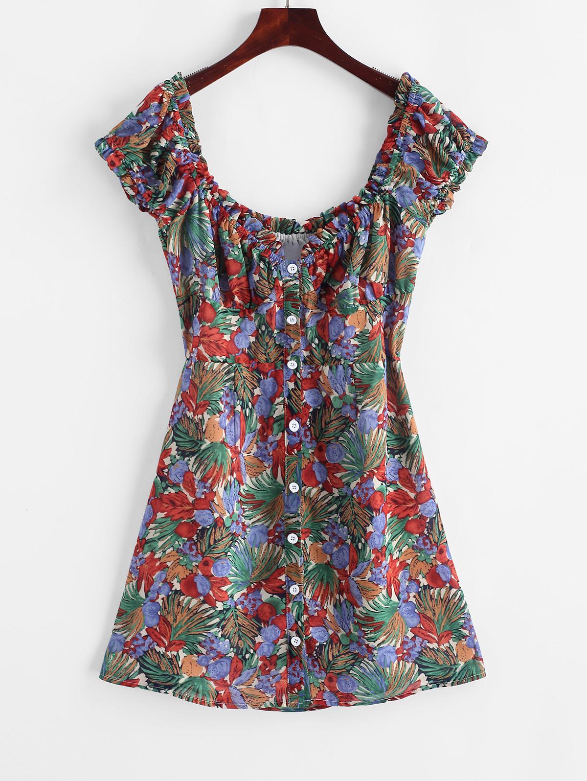 ZAFUL Button Up Floral Milkmaid Mini Dress, Multi