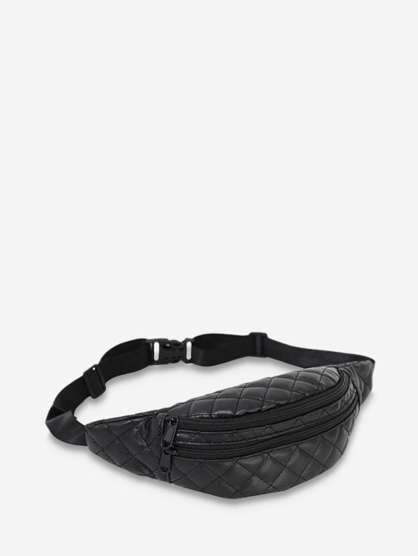 Chic Solid Retro Crossbody Chest Bag, Black