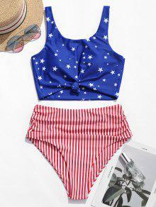 ZAFUL عقدة Ruched العلم الأمريكي تانكيني ملابس السباحة - متعددة-a M