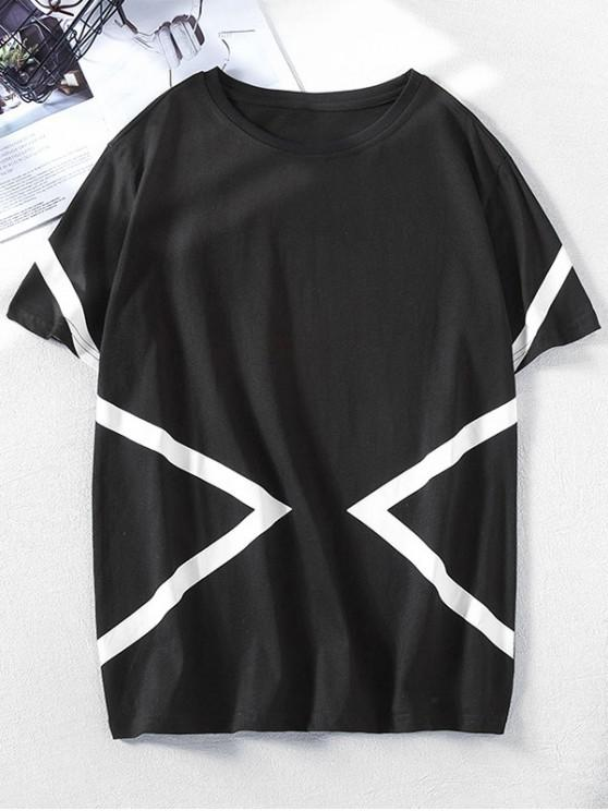 289bf6c9f9 37% OFF] 2019 Short Sleeves Geometric Print Color Block Tee In BLACK ...