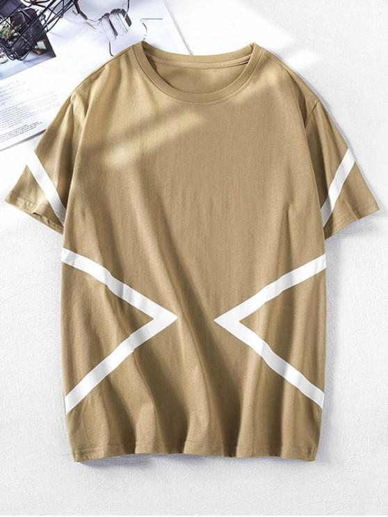 outfit Short Sleeves Geometric Print Color Block Tee - TAN M