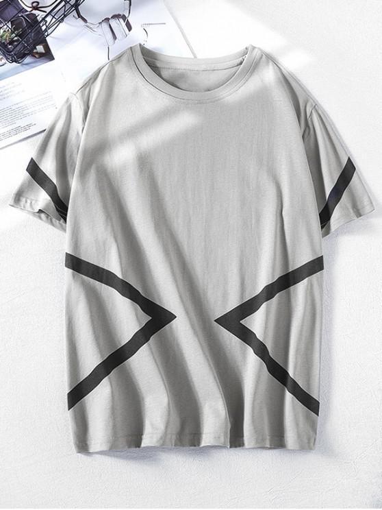Camiseta de manga corta con estampado geométrico en color block - Nube Gris M