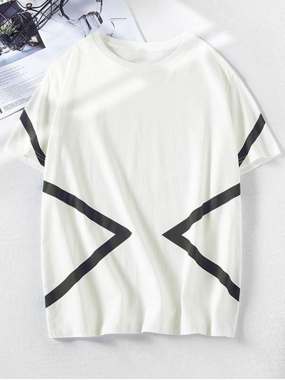 fashion Short Sleeves Geometric Print Color Block Tee - WHITE M