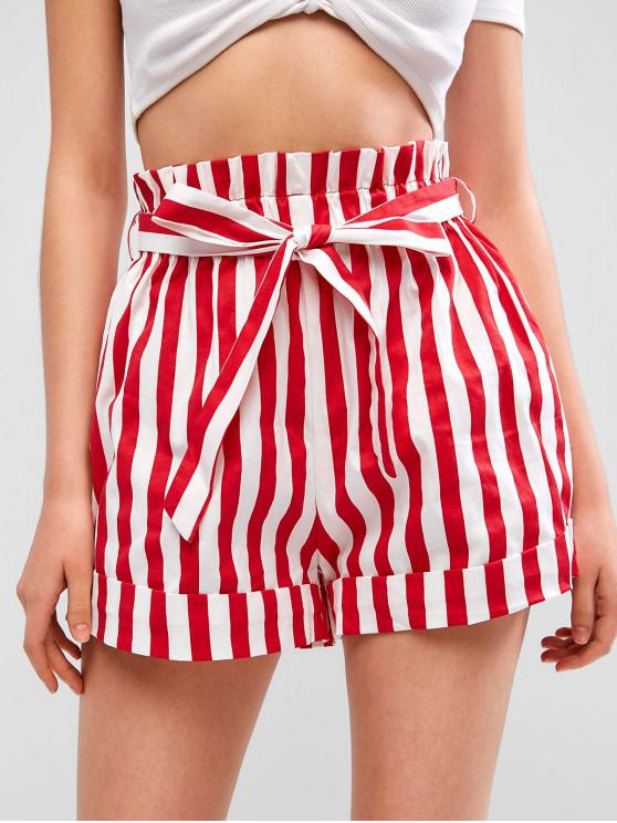 women's ZAFUL Cuffed Belted Stripes Paperbag Shorts - LAVA RED L