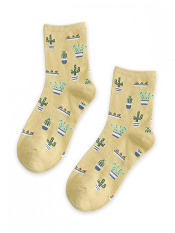 shops Cactus Pattern Floor Socks - YELLOW