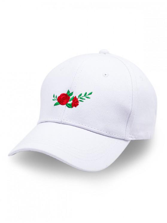 fancy Adjustable Floral Embroidery Baseball Cap - WHITE