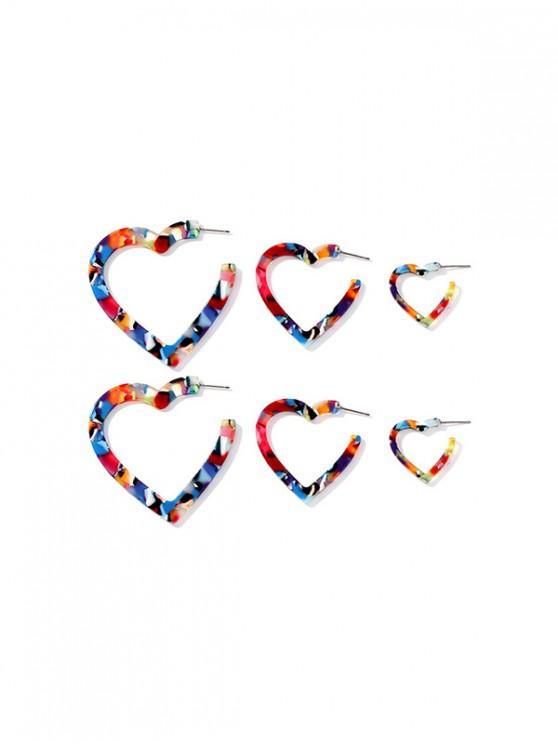 unique 3Pairs Camo Love Heart Stud Earrings Set - ACU CAMOUFLAGE