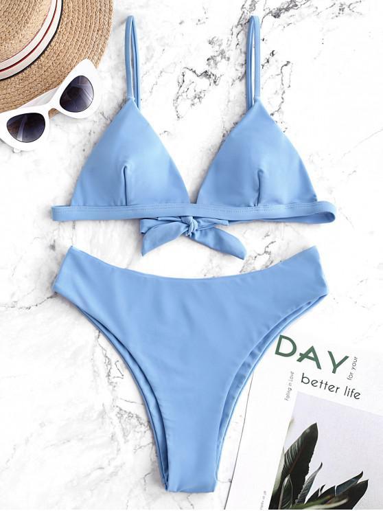 sale ZAFUL Tie Back Cami High Leg Bikini Swimsuit - DAY SKY BLUE S